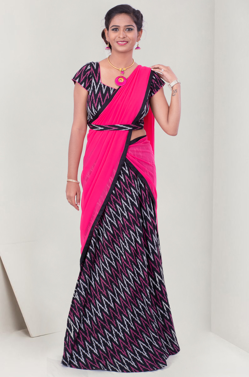 A PRETTY CONTRAST OF IKAT LEHENGA WITH ZIGZAG DESIGN
